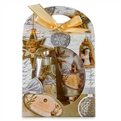Kit d'entretien Noel à la main en boîte cadeau + 90 ml Savon liquide dans un distributeur, crème pour les mains & ongles 60 ml, parfum?: vanille & canneberge, Couleur?: Crème/doré