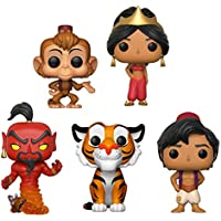 Funko POP! Aladdin: Aladdin + Abu + Jasmine (Red Dress) + Rajah + Red Jafar (As Genie) - Disney Vinyl Figure Set NEW