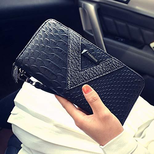 LYINHGL Mode Frauen Schlangenleder Geldbörse Kontrast Reißverschluss Clutch, Schwarz - Schwarze Schlangenleder Clutch