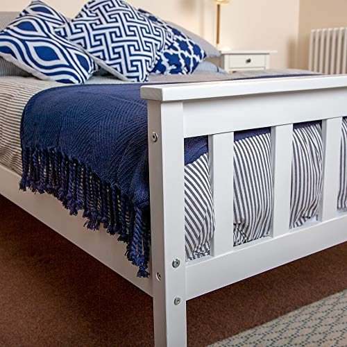 Wido White Wooden Double Bed Frame