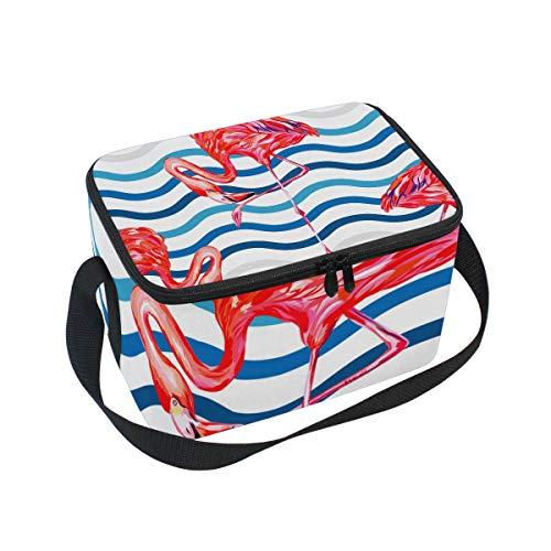 ALINLO Wasserfarbene Streifen Wellen Flamingo Lunchbag mit Reißverschluss isolierte Kühltasche Lunchbox Meal Prep Handtasche für Picknick, Schule, Damen, Herren, Kinder -