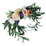 Baoblaze Kunstblumen Kranz Seidenblumen Blumen Hängedeko Wand/Tür/Stuhl Blumendeko für Hochzeit Verlobung und Jahrestag