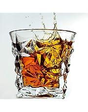 Passaro Crystal Cut Diamond Imported Whiskey Glasses Set of 2, 6 (Wine Glasses, 300 ML) PS-28