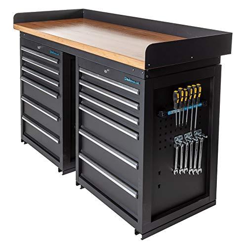 Werkbank PRO mit Bambus Arbeitsplatte - 12 Schubladen - 150 cm (Schubladen Werkbank 12)