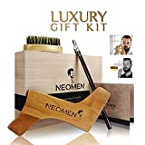 #6: NEOMEN Wooden Beard Grooming Kit, Beard Shaping Template Designed for Various Beard Styles, With Boar Bristle Beard Brush & Barber Pencil, Helps to Achieve Perfect Goatee, Mustache & Neck Line