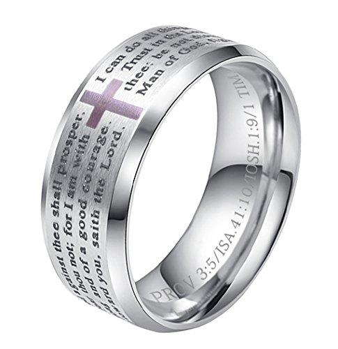 ALEXTINA Herren 8MM Edelstahl Bibel Vers Christian Kreuz Das Gebet des Herrn Ring Silber Größe 60