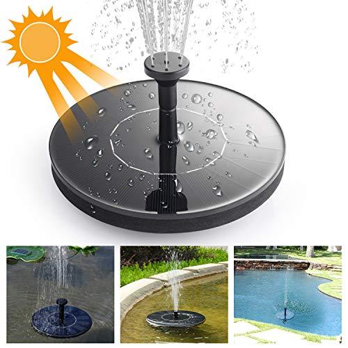 Ulikey pompa solare per fontana, pompa per fontana energia solare - fontana solare da 1.4w, pompa sommersa circolare per stagno, piscina, garden fish tank