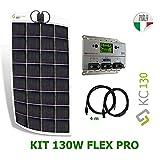 Kit 130W flex PRO 12V panel solar semi-flexible fabricado en Italia