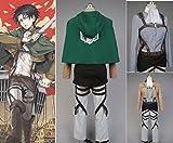 RoleplayShop Attack On Titan Shingeki No Kyojin Scouting Legion Rivaille Cosplay Kostüm Gr. XL, grün