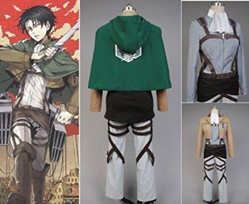 On Titan Shingeki No Kyojin Scouting Legion Rivaille Cosplay Kostüm Gr. XL, grün ()