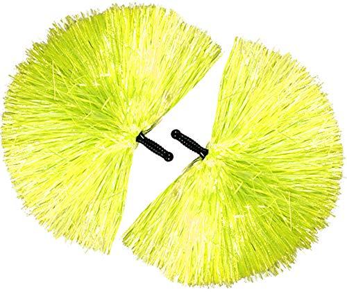 com-four® 2 Cheerleader Pompons in Gelb für Fasching, Karneval, andere Mottopartys oder zum Anfeuern (02 Stück - gelb/schwarzer Griff)