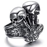 XBOMEN Schmuck aus Titan Stahl 2 Schädel Maschine Motor High Polish Ring für Männer Ringe