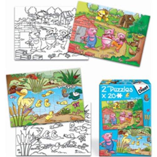 Imagen 1 de Diset 69577 - 2 Puzzles 20 Patito Feo/ 3 Cerditos