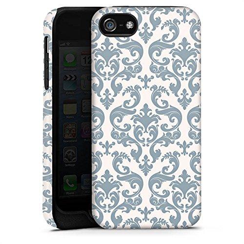 Apple iPhone X Silikon Hülle Case Schutzhülle Retro Muster Blumen Tough Case matt