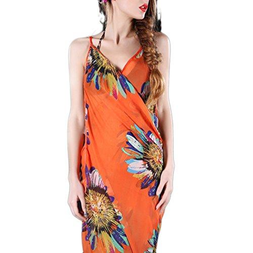 Mavis's Diary Femme Robe de Plage Bretelle Çhâle Écharpe Chiffon Mousseline de soie Longueur Genou Floral Imprimé motif 3