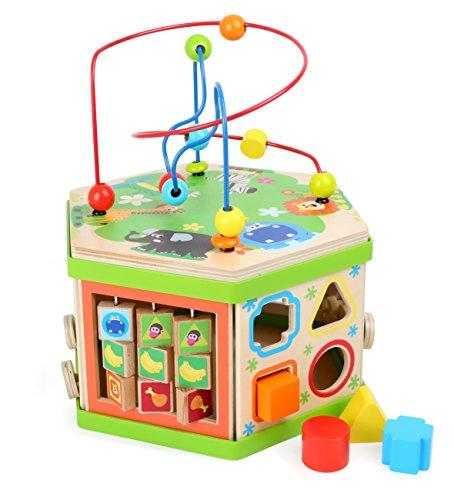 """Motorikwürfel \""""Safari\"""", Baby-Kinderspielzeug aus Holz, vielfältiges Spielerlebnis auf sieben Spielflächen, Tierwelt mit Motorikschleife, Schiebespiel und Rechenschieber, ab 12 Monate"""