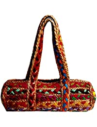 The Indian Handicraft Store Presents Unique And Colourful Jute Rope Hand Bag In Clutch Bag (14''L*7''H*5''W)