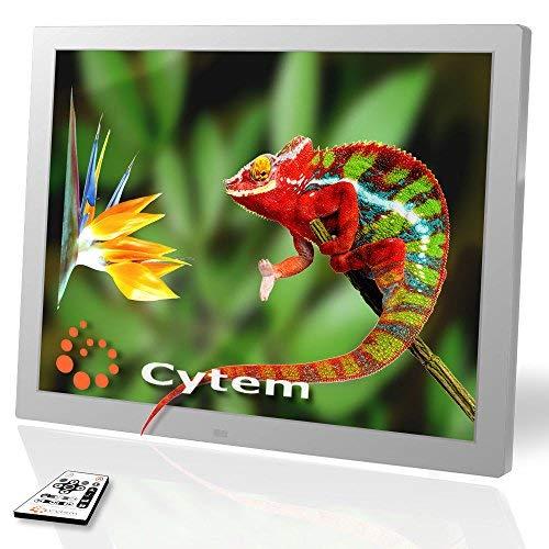 Cytem Diamine 15; Digitaler Bilderrahmen 38,1cm (15 Zoll im 4:3 Format); Mattes LED Display; HD-Video (720p), Silber
