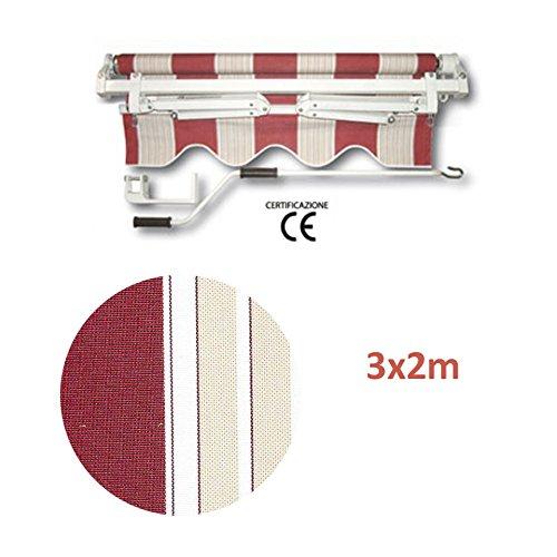 Tenda da sole avvolgibile a barra quadra. può essere fissata sia a soffitto che a parete. barra di torsione mm 35x35x1,2. rullo in alluminio Ø mm 60x1,2. supporti braccio in alluminio (mm 47x28x1,20 + mm 37x20x1,20). arganello 1/11, peso tessuto 280 gr./m