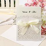 10x invitación de boda sobre–Tarjeta, de encaje, corte láser, Vintage, Party, regalo