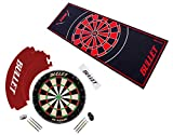 BULLET-Darts Großes Dart Turnier Set, Dartboard aus Brasilianischen Sisal, 6 Steeldarts, Surround Ring, Wurflinie und Einem professionellem Teppich in Rot/Rot