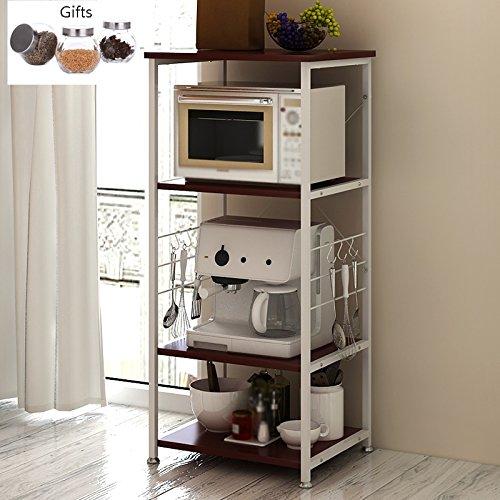 Küchenmöbel-WXP Öffnen Sie Kabinett-Mikrowellen-Regal-einfache Haushalts-Kabinette Dreireihige Küchen-Zahnstangen geben Geschenk-Speicher-Glasflaschen frei WXP-Küchenschränke und Besteckschränke ( Farbe : Dunkelrot - Holz-speicher-kabinette