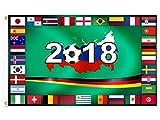 MC-Trend WM 2018 in Russland - Fahne Flagge mit allen Länder die teilnehmen Größe 90 x 150 cm Weltmeisterschaft 2018 für Garten Bistro Deko Gastronomie public viewing