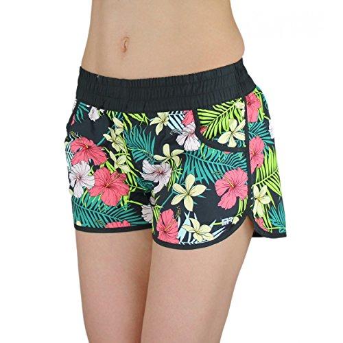 Badeshorts Damen Boardshorts Strandshorts Beach Shorts Kurz Lässige Sommershorts Hotpants (38 / M, Muster 2 - Blumen Bunt) (Hawaii-boardshorts)