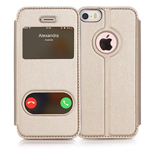 iPhone SE Hülle,iPhone 5S Hülle,iPhone 5 Hülle,Fyy® hochwertige umweltfreundliche KunstlederHülle (Tasche Schale Schutzhülle Case Cover Etui) Schwarz für Apple iPhone SE/5S/5 A-Gold
