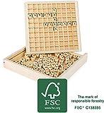 Wörter legen, Lesespiel aus Holz, 100% FSC®-zertifiziert, Lernhilfe für erste Lese-und Schreibversuche mit 145 Buchstabenwürfeln, geeignet für Kinder ab 6 Jahren