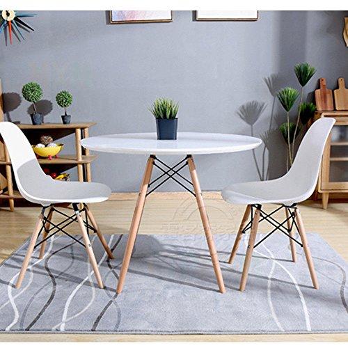 ... Ihana Rund Modernen Esstisch DSW Eiffel Stil MDF Tischplatte In Weiß U0026  Schwarz, Buche Massiv ...