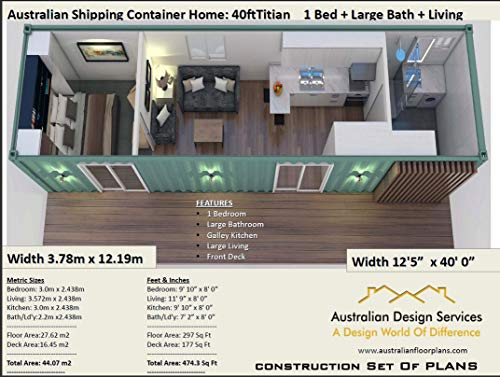 Small New Home Design - 40 Foot Shipping Container Home: Full Architectural Concept Home Plans includes detailed floor plan and elevation plans (Ship Container Homes Book 401) (English Edition)
