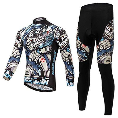 Skysper Moda Maglia Ciclismo Jerseys Per Uomo: Lunghe Maniche Tuta + Pantaloni Lunghi di Ciclismo