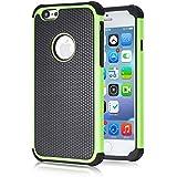 tinxi® Doppelt Silikon Schutzhülle für Apple iPhone 6 4.7 zoll Silicon Rück Schale Tasche Cover Case Etui in Schwarz grün