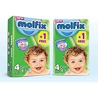 Molfix Couches Bébé 3D Maxi Taille 4 (7-14 kg) 8 + 1=9 couches