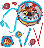 9 tlg. Set: Musikinstrumente -' Paw Patrol' - incl. Name - Trommel + Kinderflöte + Tamburin + Kastagnetten - aus Kunststoff für Kinder - Instrument - Kindertrommel - Maracas Rassel & Handtrommel - Kindertrommel / Kinderinstrumente - Instrumente - Mädchen & Jungen / Percussion / Instrumenteset - Schlagzeug Spielzeug - Hund Marshall / Chase / Rubble - Ryder - Hunde - Haustiere - Boxer