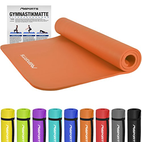 Gymnastikmatte Premium | inkl. Übungsposter | Hautfreundliche - Phthalatfreie Fitnessmatte - Orange - 190 x 100 x 1,5 cm - sehr weich - extra dick | Yogamatte
