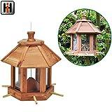 Vogelfutterhaus aus langlebigem Zedernholz mit 6 Sitzstangen, 26x27cm: Vogelfutterstation Vogelvilla Vogelfutterspender Futterstation