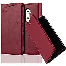 Cadorabo - Funda Book Style Cuero Sintético en Diseño Libro LG G2 - Etui Case Cover Carcasa Caja Protección con Imán Invisible en ROJO-MANZANA