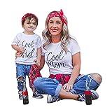 Parent-Child Outfit, Chic Mode Maman et Moi Bébé Enfants Garçons Filles Manches Courtes Lettre T-Shirt Blouse Famille Vêtements Confortables et Doux Manches Courtes T-Shirt BA Zha Hei (90, Bébé)