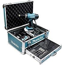 Makita HP457DWEX4 Perceuse visseuse à percussion en mallette en Alu avec 2 batteries 18 V 1,3 Ah/74 accessoires