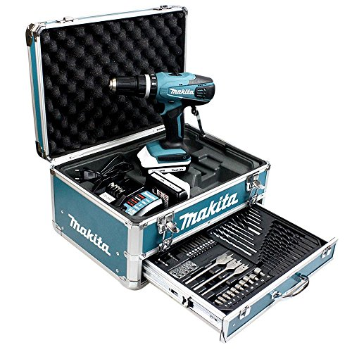 Makita HP457DWEX4 Perceuse visseuse à percussion en mallette en Alu avec 2 batteries 18 V 1,3 Ah/74...