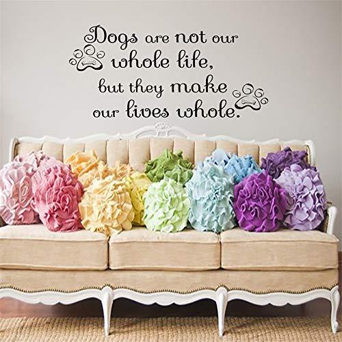 wlwhaoo Sie Machen unser Leben ganze Hunde Pfotenabdrücke Wandtattoos Kunst Wohnkultur Aufkleber Wohnzimmer Dekoration Pet Shop Tapete weiß 45cmx28cm