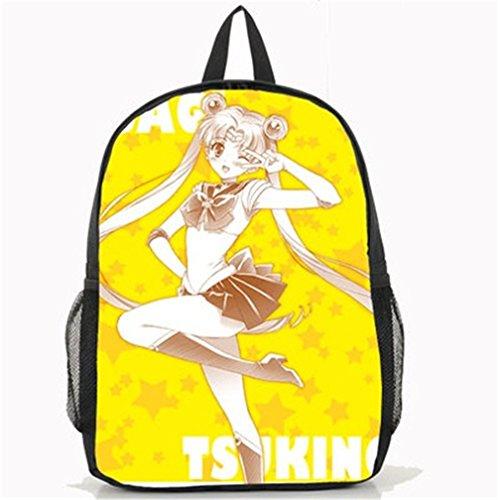 lay Sailor Moon Tsukino Usagi Segeltuch Daypack Rucksack Schultasche schwarz 11 ()