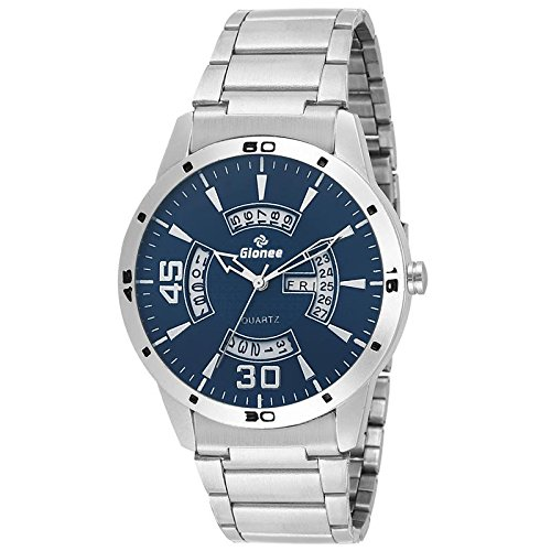 Gionee - Japanese Quartz & Original Long-Lasting Cell - Blue Round Dial Day & Date Analog in Silver Case and Chain Watch - for Men