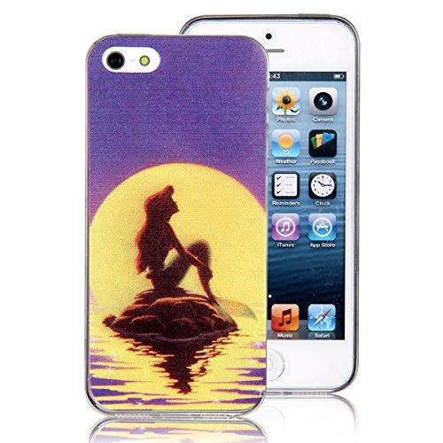 JewelryWe Apple iPhone 5/5S TPU Silikon Handy Hülle Tasche Case Schutzhülle Rückenschutzhülle Etui Gemaltes Meerjungfrau am Sonnenuntergang