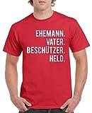 Comedy Shirts - Ehemann. Vater. Beschützer. Held. - Herren T-Shirt - Rot / Weiss Gr. S