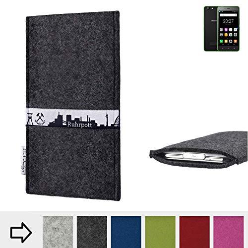flat.design für Hisense Rock Lite Schutzhülle Handy Tasche Skyline mit Webband Ruhrpott - Maßanfertigung der Schutztasche Handy Hülle aus 100% Wollfilz (anthrazit) für Hisense Rock Lite