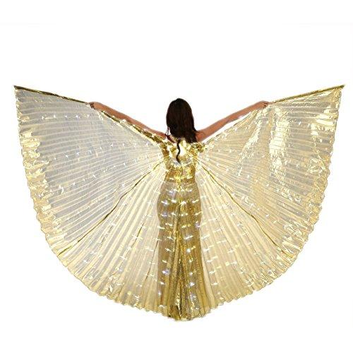 Dance Fairy Bauchtanz LED Isis Flügel Mit Stöcke/ Stangen (Gold) (Künstler Paar Kostüme)
