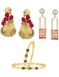 VK Jewels Gold And Rhodium Plated Alloy Bangle & Earrings Combo Set For Women & Girls - COMBO1524G [VKCOMBO1524G]